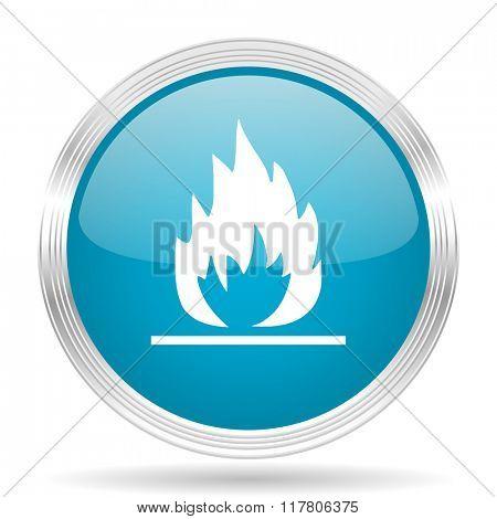 flame blue glossy metallic circle modern web icon on white background