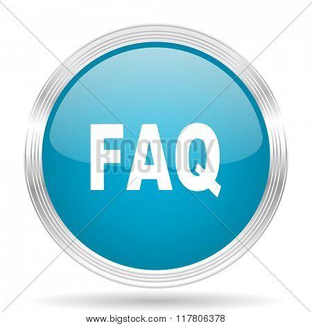 faq blue glossy metallic circle modern web icon on white background