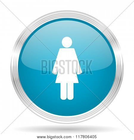 female blue glossy metallic circle modern web icon on white background