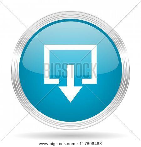 exit blue glossy metallic circle modern web icon on white background