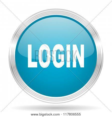 login blue glossy metallic circle modern web icon on white background