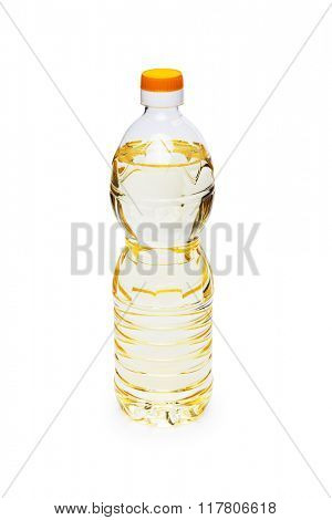 a bottle with oil is isolated on a white background