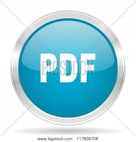 pdf blue glossy metallic circle modern web icon on white background