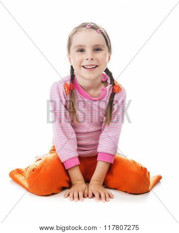 Cute little girl happy sitting on his lap