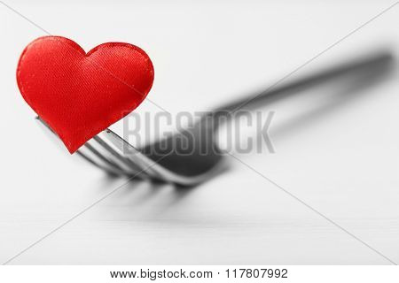 Concept image for Valentines Day dining, on light background
