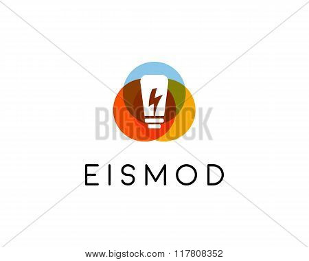 Abstract bulb lamp flash logo design. Energy idea creative symbol. Universal vector icon. Brainstorm
