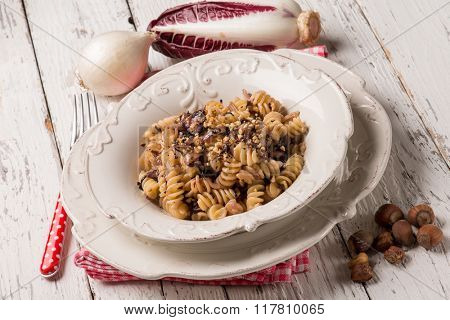 pasta with chicory and hazelnut