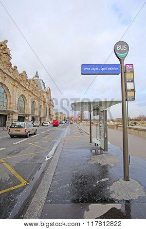 Paris, France, February 8, 2016: Bus station in Paris, France
