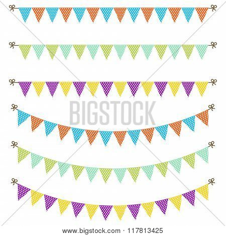 Bunting garland dotted flags vector.