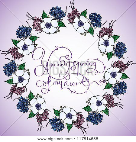 Card with floral circle and lettering
