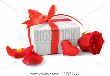 Gift box, rose flower and decorative heart, isolated on white
