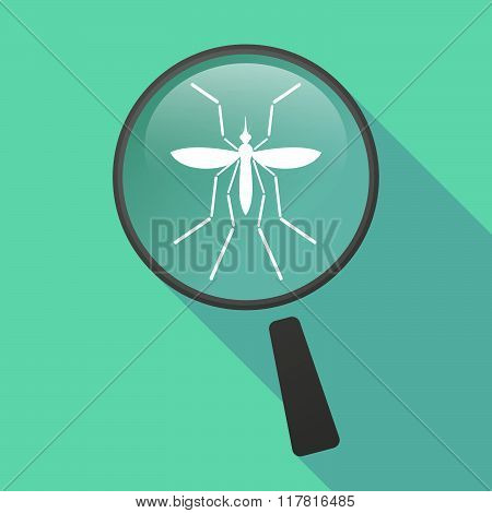 Zika Virus Bearer Mosquito  In A Magnifier Icon