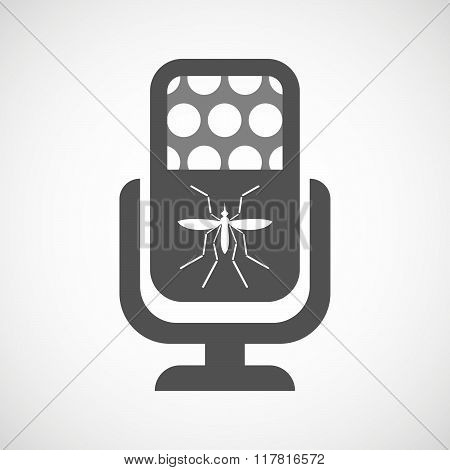 Zika Virus Bearer Mosquito  In A Microphone Icon