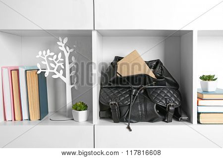 Fashion female handbag with books on shelf