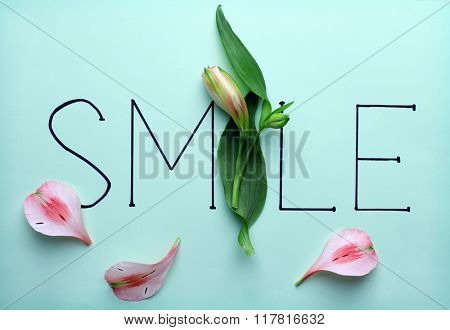 Inscription smile with flower on green background