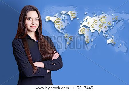 Business success strategy concept.Portrait of businesswoman on world map background