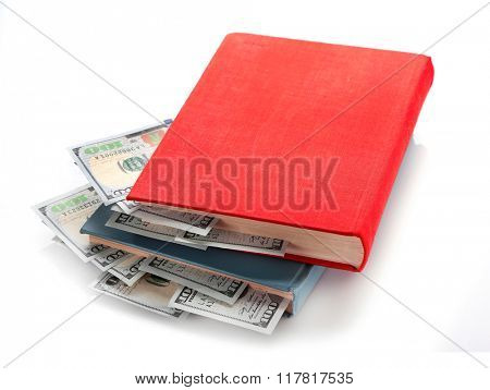 Books with nested dollar banknotes, isolated on white. Stash of money