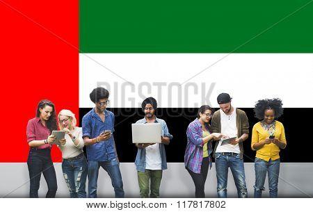 UAE National Flag Studying Diversity Students Concept