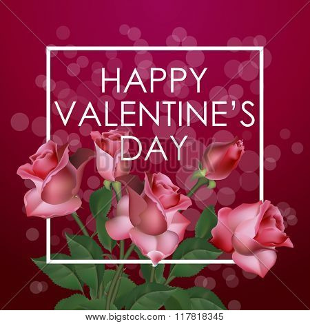 Valentines Day Vintage Background With Pink Roses, Vector illustration