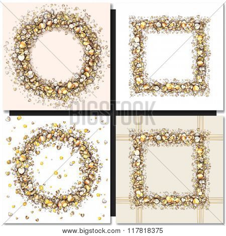 Set of Golden frames on black background. Gold sparkles on black background. Gold glitter vector.