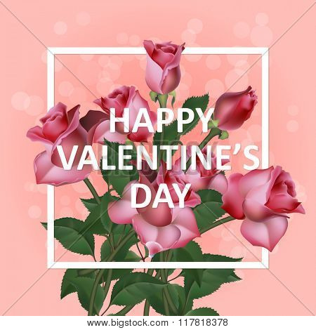 Valentines Day Vintage Background With With Pink Roses, Vector illustration