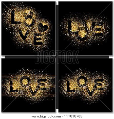 Set of Valentines day cards background with gold word Love. Vector illustration