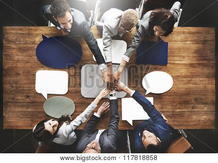 Business People Joining Speech Bubbles Teamwork Concept