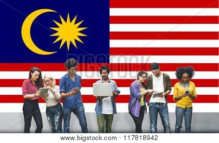 Malaysia Country Flag Liberty National Concept