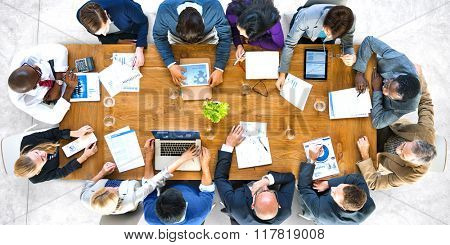 Group of Diverse Business People in a Meeting Analysis Concept