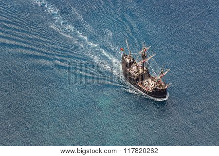 Funchal, Portugal - June 25: Tourists Making A Cruise With A Replica Of Vessel