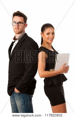 Successful Business Couple Standing Together, Is Confident And Pride On Teamwork.