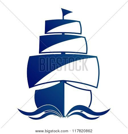 Vector Simple Vintage Frigate Illustration, monochrome sailing on sea
