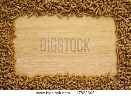 Pasta Frame On Wooden Background Texture, Copy / Text Space.