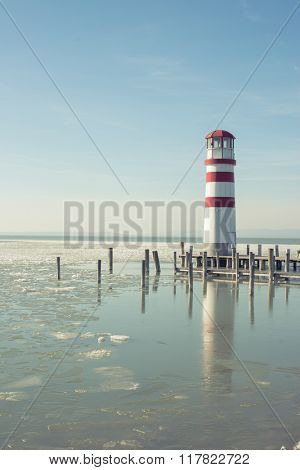 Lighthouse and wooden pier, Podersdorf, Austria