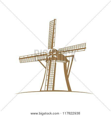 Vector Monochrome Traditional Dutch Windmill Silhouette Portrait Illustration