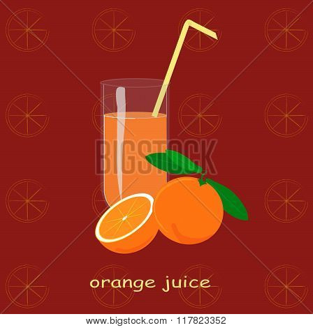 A glass of orange juice, orange, sliced orange, green leaves on maroon background