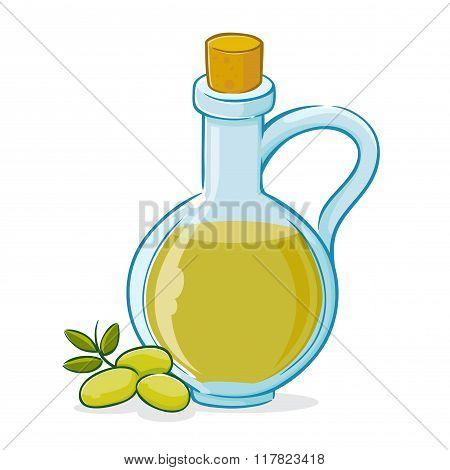 Vector Illustration Of Olive Oil In Bottle