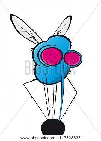 blue cartoon mosquito