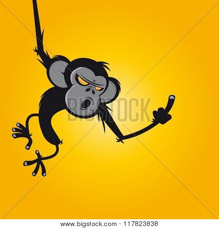 angry ape showing middle finger