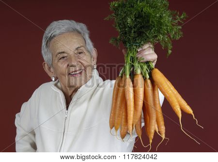 Senior Woman With Carrots
