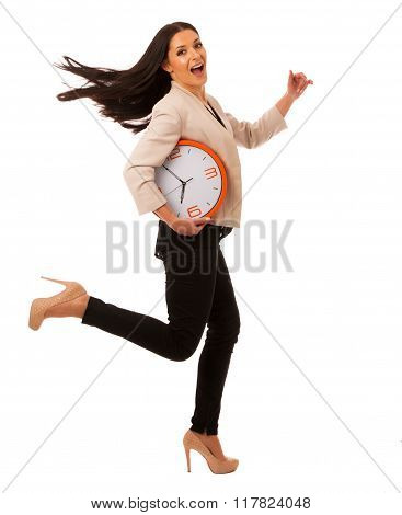 Stressed Woman With Big Clock Rushing Because Of Being Late.