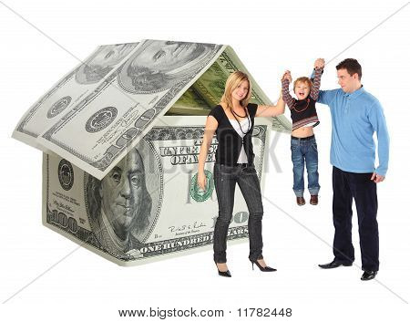Family With Hanging Bot And Dollar House Collage