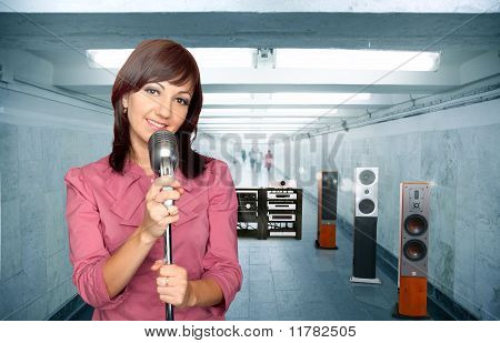 Woman With Microphone And Audio System In Subway Corridor Collage