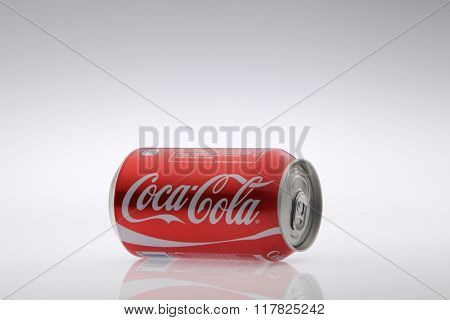 Kuala Lumpur Malaysia Jan 12th 2016,coca cola red classic can on the white background