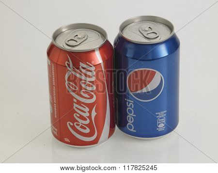 Kuala Lumpur Malaysia Jan 18th 2016, Coca-Cola and Pepsi Cans Isolated On White