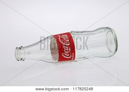 Kuala Lumpur Malaysia Jan 12th 2016,empty coca cola glass bottle on the white background