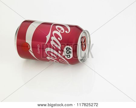 Kuala Lumpur Malaysia Jan 18th 2016,can of coca cola with cherry flavor on the white background