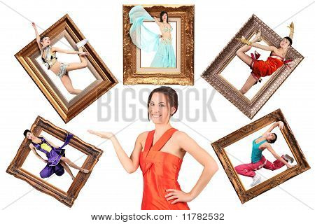 Beauty Girl In Red Dress Showes Multi Task Many Women In Picture Frames Collage