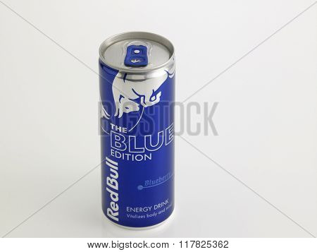 Kuala Lumpur Malaysia Jan 18th 2016,red bull blue berry aluminum can on the white background