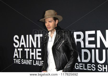 LOS ANGELES - FEB 10: Dominic Sherwood arriving at the Saint Laurent fashion show at the Hollywood Palladium on February 10, 2016 in Los Angeles, California